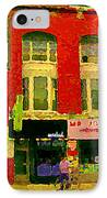 Mr Jordan Mediterranean Food Cafe Cabbagetown Restaurants Toronto Street Scene Paintings C Spandau IPhone Case by Carole Spandau