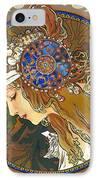 My Acrylic Painting As Interpretation Of Alphonse Mucha- Byzantine Head. The Blonde. Diagonal Frame. IPhone Case by Elena Yakubovich