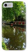 Narrowboats Moored On The Wey Navigation In Surrey IPhone Case by Louise Heusinkveld