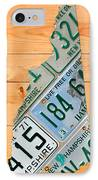 New Hampshire License Plate Map Live Free Or Die Old Man Of The Mountain IPhone Case by Design Turnpike