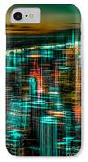 New York - The Night Awakes - Green IPhone Case by Hannes Cmarits