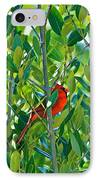 Northern Cardinal Hiding Among Green Leaves IPhone Case by Cyril Maza