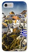 Oia And A Greek Flag IPhone Case by Meirion Matthias