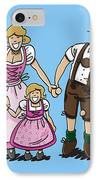 Oktoberfest Family Dirndl And Lederhosen IPhone Case by Frank Ramspott