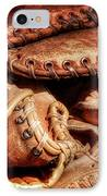 Old Baseball Gloves IPhone Case by Bill Wakeley
