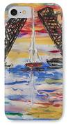 On The Hour. The Sailboat And The Steel Bridge IPhone Case by Andrew J Andropolis