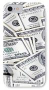 One Hunfre Dollar Bills IPhone Case by Jan Tyler