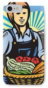 Organic Farmer Farm Produce Harvest Retro IPhone Case by Aloysius Patrimonio