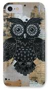 Owl On Burlap2 IPhone Case by Kyle Wood