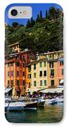 Panorama Of Portofino Harbour Italian Riviera IPhone Case by David Smith