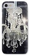 Paris Surreal Silver Crystal Chandelier - Paris Cafe Chandelier Art  IPhone Case by Kathy Fornal