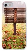 Park Bench In Autumn IPhone Case by Edward Fielding