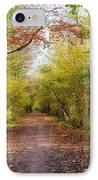 Pathway Through Sunlit Autumn Woodland Trees IPhone Case by Natalie Kinnear