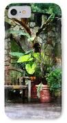 Patio Garden In The Rain IPhone Case by Susan Savad
