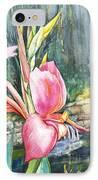 Peach Canna By The Pond IPhone Case by Patricia Allingham Carlson