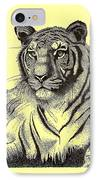 Pen And Ink Drawing Of Royal Tiger IPhone Case by Mario Perez
