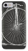 Penny-farthing 1867 High Wheeler Bicycle Patent - Gray IPhone Case