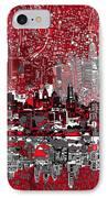 Philadelphia Skyline Abstract 4 IPhone Case by Bekim Art