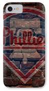 Phillies Baseball Graffiti On Brick  IPhone Case by Movie Poster Prints
