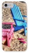 Pink And Blue Beach Chairs With Matching Flip Flops IPhone Case