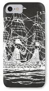 Pirate Ship Artwork - Gray IPhone Case