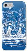 Pirate Ship Blueprint Artwork IPhone Case by Nikki Marie Smith