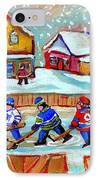 Pond Hockey Game IPhone Case by Carole Spandau