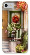 Porch - Cranford Nj - Simply Pink IPhone Case by Mike Savad