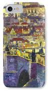 Prague Violet Panorama Night Light Charles Bridge IPhone Case by Yuriy Shevchuk