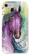Purple Horse IPhone Case by Angel  Tarantella