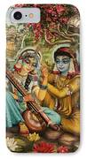 Radha Playing Vina IPhone Case by Vrindavan Das