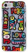 Rainbow Text IPhone Case by Tim Gainey