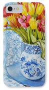 Red And Yellow Tulips In A Copeland Jug IPhone Case by Joan Thewsey