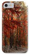 Red Autumn Road In Snow IPhone Case by Terri Gostola