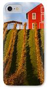 Red Barn In Autumn Vineyards IPhone Case