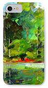 Red Canoe I IPhone Case by Charlie Spear