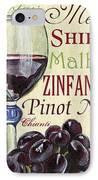 Red Wine Text IPhone Case by Debbie DeWitt