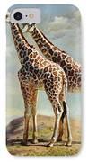 Romance In Africa - Love Among Giraffes IPhone Case by Svitozar Nenyuk