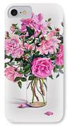 Roses In A Glass Jar  IPhone Case by Christopher Ryland