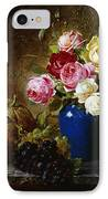 Roses In A Vase Peaches Nuts And A Melon On A Marbled Ledge IPhone Case