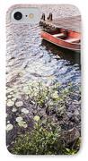 Rowboat At Lake Shore At Sunrise IPhone Case