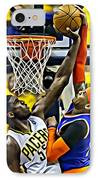 Roy Hibbert Vs Carmelo Anthony IPhone Case by Florian Rodarte
