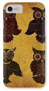 Rustic Aged 4 Owls IPhone Case