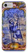 Saint Christopher Carrying The Christ Child Across The River - Near Entrance To The Carmel Mission IPhone Case by Michael Mazaika