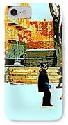 Saturday Afternoon Hockey Practice At The Neighborhood Rink Montreal Winter City Scene IPhone Case by Carole Spandau