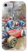 Scuderia Ferrari Paddock Spanish Gp 1971 Ferrari 312b2  IPhone Case by Yuriy Shevchuk