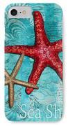 Sea Shore Original Coastal Painting Colorful Starfish Art By Megan Duncanson IPhone Case by Megan Duncanson
