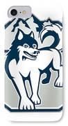 Siberian Husky Dog Mountain Retro IPhone Case