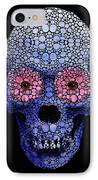 Skull Art - Day Of The Dead 1 Stone Rock'd IPhone Case by Sharon Cummings