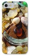 Smiley Face Art Prints Seaglass Shells Agates Beach IPhone Case by Baslee Troutman